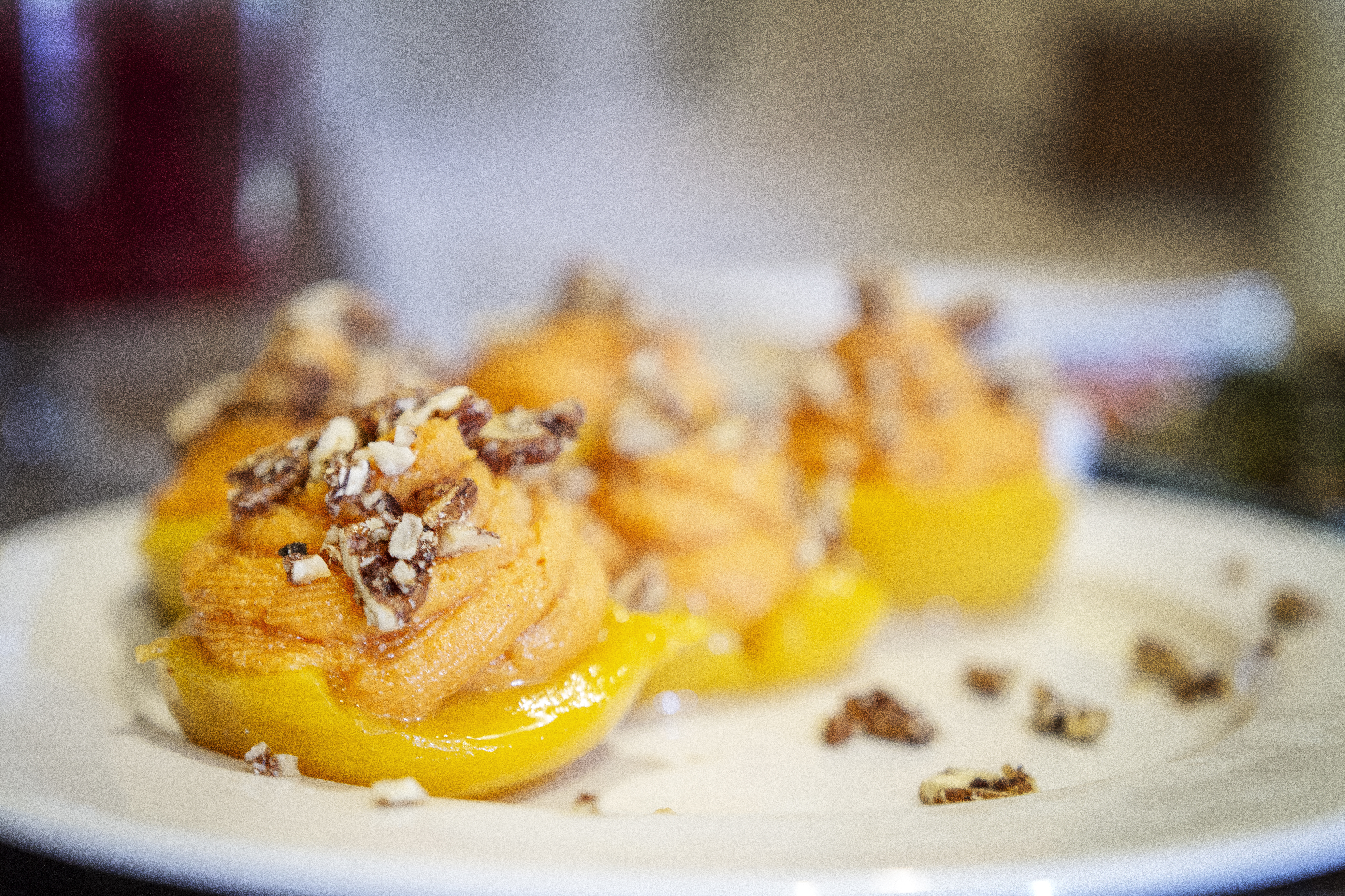 Stuffed Peaches with Spiced Pecans  & Mistelle